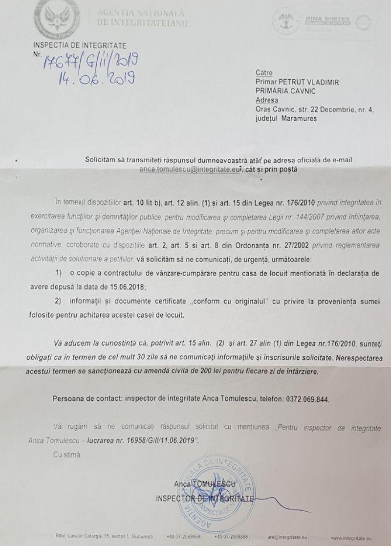 Primarul de Cavnic, cercetat de Agenţia Naţională de Integritate (ANI)