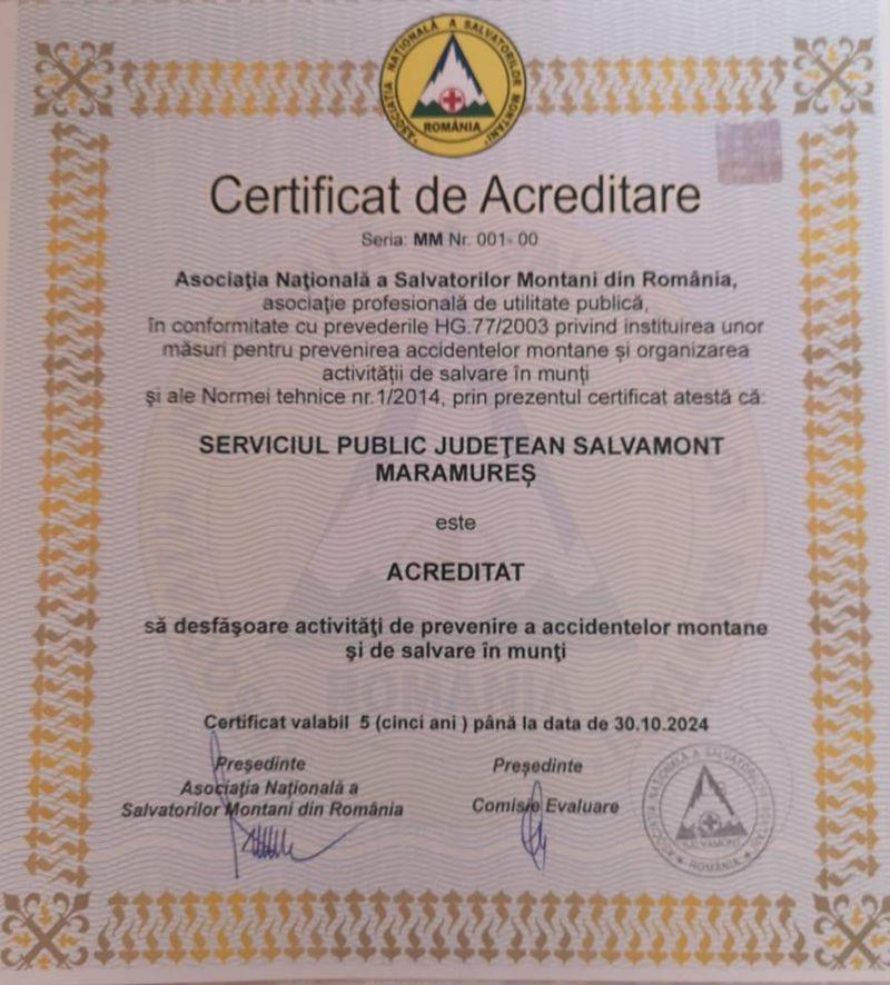 Salvamont Maramureș, acreditat pentru activități de prevenire a accidentelor montane și de salvare în munți