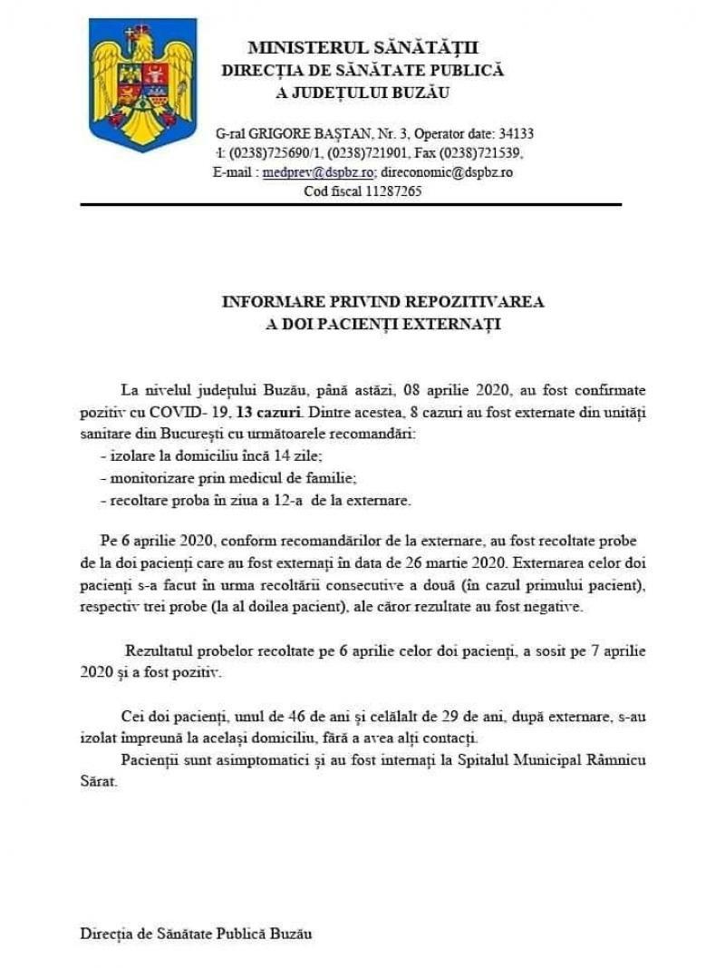Doi pacienți cu COVID-19, reconfirmați pozitiv după ce au fost externați la Buzău
