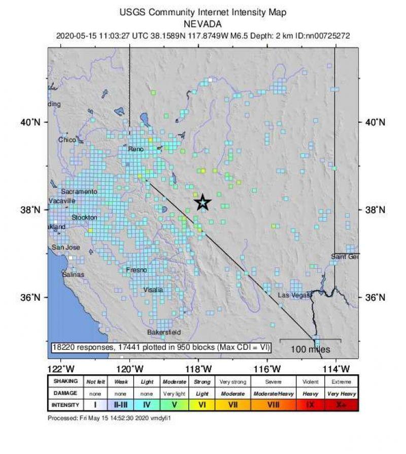Un cutremur de 6,5 grade produs în statul american Nevada s-a resimțit la peste 500 km distanță