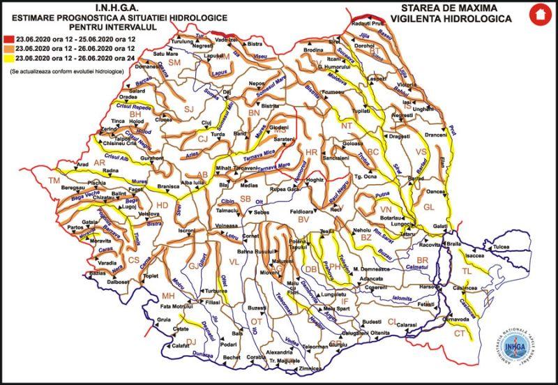 RO-ALERT - COD ROȘU de inundații pe râul Tisa și COD PORTOCALIU pe râurile Vișeu și Iza