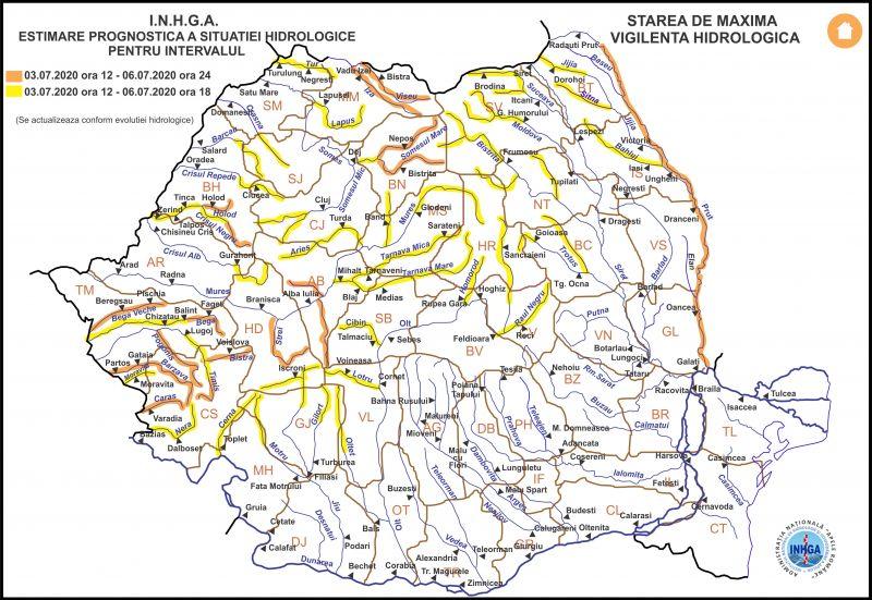 AVERTIZARE - Cod PORTOCALIU de INUNDAȚII pe râurile IZA și VIȘEU până mâine la ora 12:00