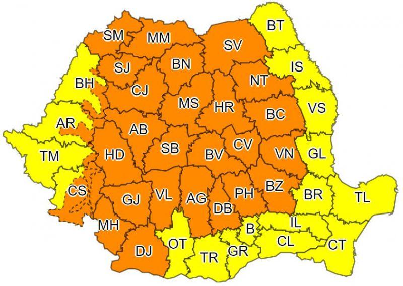 Cod portocaliu de ploi abundente şi vijelii în Maramureș și alte judeţe