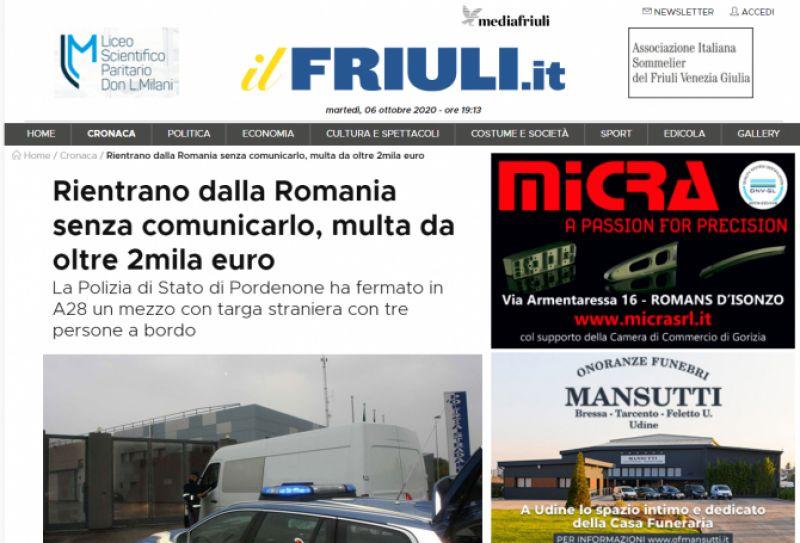 Italia - Trei români care se întorceau din țară, AMENDAȚI cu peste 2.000 euro. Nu aveau declarația pe propria răspundere și n-au anunțat ASL