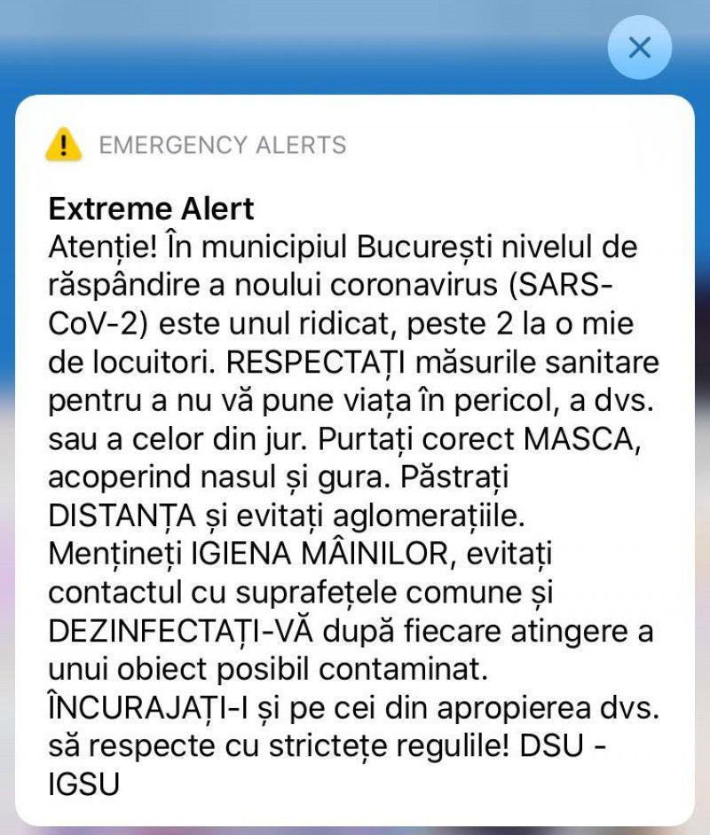 DSU a început să emită mesaje RO-Alert în zonele cu rată mare de răspândire a coronavirusului