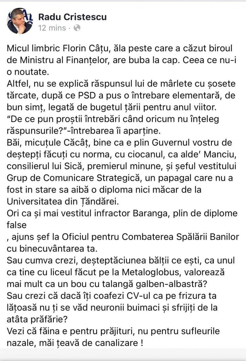 FOTO - Mesaj suburban distribuit de biroul de presă al PSD. Un candidat al partidului la parlamentare îl insultă grobian pe Cîțu