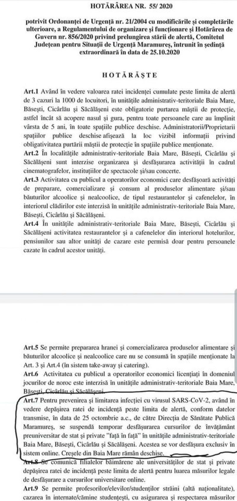 OFICIAL - În Baia Mare, Băsești, Cicârlău și Săcălășeni este obligatorie purtarea măștii de protecție. Vezi ce alte măsuri a mai luat Comitetul Județean pentru Situații de Urgență Maramureș