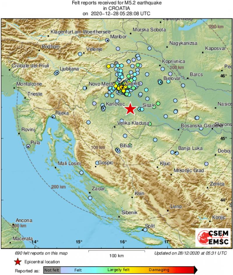 Un seism cu magnitudinea 5,2 s-a produs în centrul Croaţiei