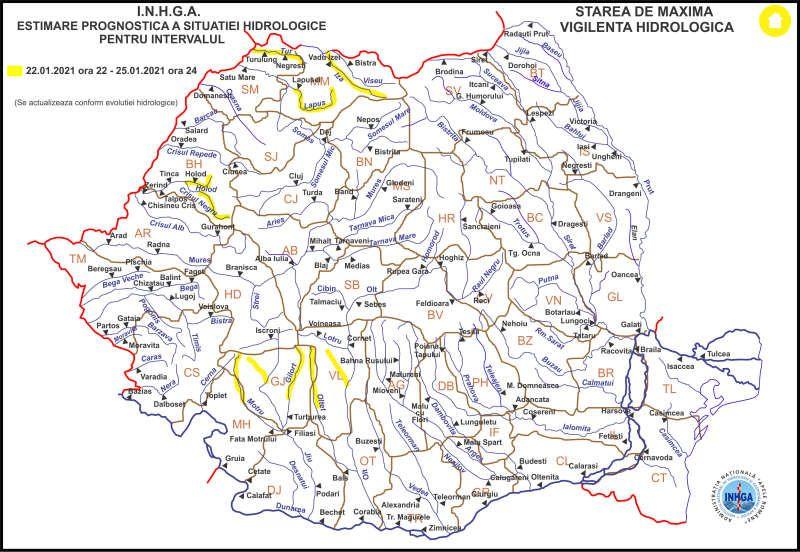 ATENȚIE! - COD GALBEN de inundaţii pe râurile Iza și Lăpuș, până luni la miezul nopţii