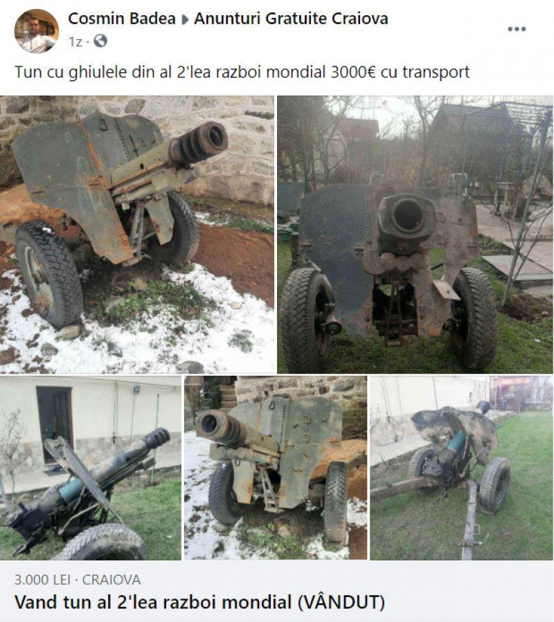 """Un craiovean a scos la vânzare pe Facebook un tun din Al Doilea Război Mondial: """"Are cauciucuri noi"""". Câți bani a cerut"""