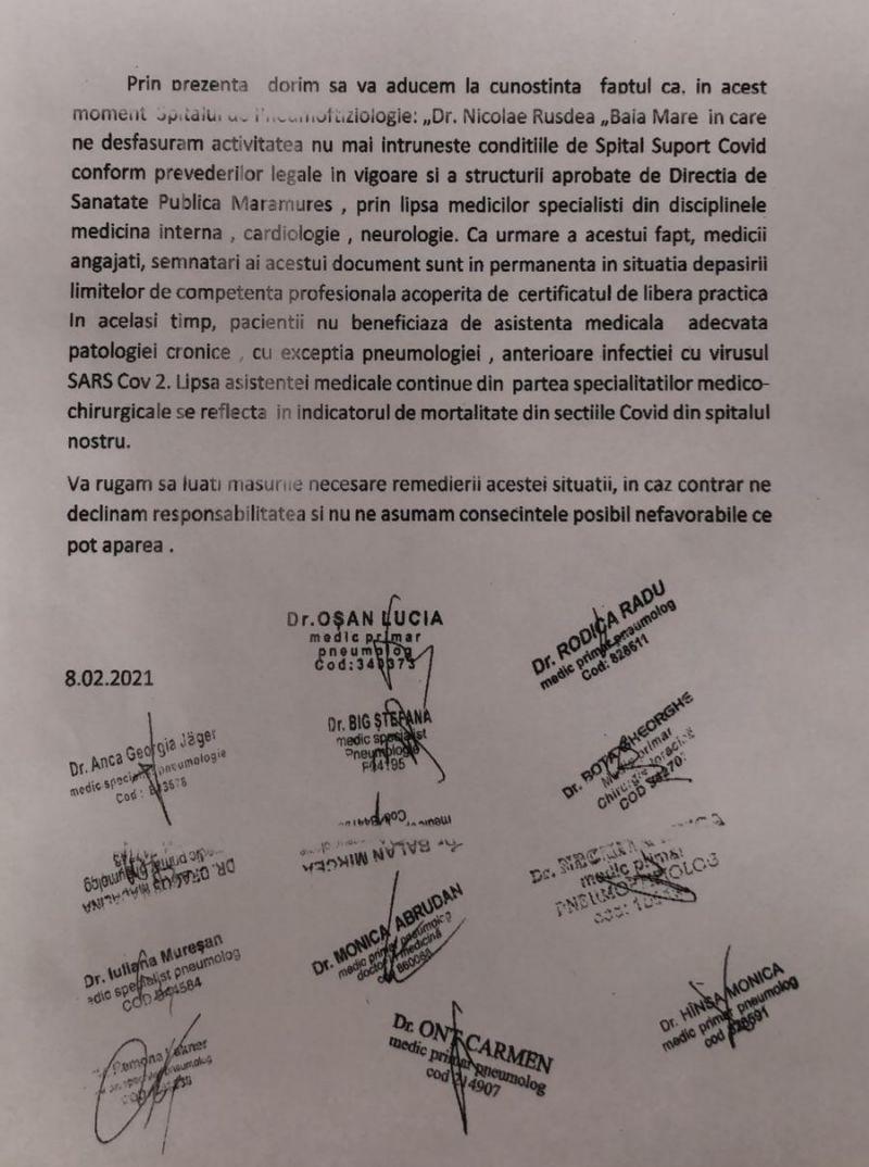 GRAV - Medicii de la Spitalul Județean din Baia Mare refuză să trateze pacienții de la Spitalul Suport COVID